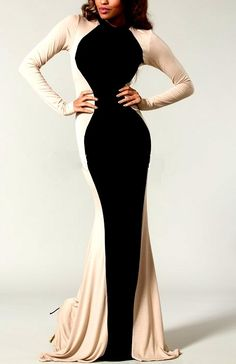 Shop Kami Shade' - Plus Size Glam Rock Black Ivory Couture Long Sleeve Maxi Dress, $119.00 (http://www.kamishade.com/haute-plus-size-dresses-more/plus-size-glam-rock-black-ivory-couture-long-sleeve-maxi-dress/)