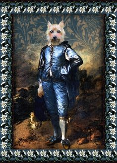 """Rory the Terrier is portrayed here as Thomas Dogsborough """"The Blue Pup"""", """"The Blue Boy"""", er, something blue! The Blue Boy, Thomas Gainsborough, Famous Portraits, Something Blue, Dog Art, Border Collie, Terrier, Romantic, Wallpaper"""