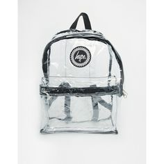 Hype Transparent Backpack ($34) ❤ liked on Polyvore featuring bags, backpacks, backpack, clear, rucksack bag, crystal clear bags, day pack backpack, see through backpack and backpacks bags