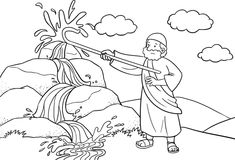 Moses Brings Water out of the Rock Coloring page
