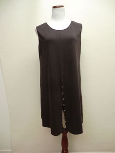 LILITH FRANCE Size Large BROWN STRETCH COTTON LAGENLOOK TUNIC DRESS  #LilithFrance #Tunic #Casual