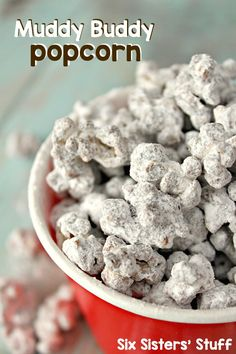 Muddy Buddy Popcorn on SixSistersStuff.com - ready in about 10 minutes! The perfect game-day snack!