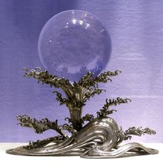 Chinese rock crystal ball, Qing Dynasty 1644-1911, on Japanese silver stand 1900-50