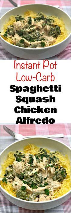 instant pot spaghetti squash alfredo Spaghetti Squash Chicken Alfredo, Sauce Spaghetti, Instant Pot Pressure Cooker, Pressure Cooker Recipes, Pressure Cooking, Slow Cooker, Pressure Pot, Keto Foods, Healthy Foods