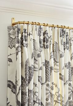 cream and grey patterned drape