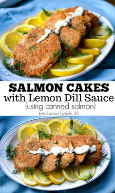 Paleo Salmon Cakes with Lemon Dill Sauce make for a speedy weeknight dinner that take just 10 minutes to cook! They're paleo and whole 30 too! Dairy Free Low Carb, Dairy Free Recipes, Paleo Recipes, Gluten Free, Cheap Recipes, Canned Salmon Recipes, Fish Recipes, Seafood Recipes, Sin Gluten