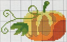 <3 Cross-stitch Pumpkin... no color chart available, just use pattern chart as your color guide.. or choose your own colors...