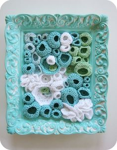 Beach Decor Crochet Fiber Wall Art in Aqua Blue by FullFlowerMoon Crochet Wall Art, Crochet Home, Free Crochet, Cotton Crochet, Irish Crochet, Nautical Crochet, Freeform Crochet, Crochet Fish, Beautiful Crochet