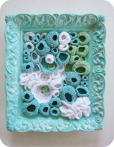 Beach Decor Crochet Fiber Wall Art in Aqua by cornflowerbluestudio