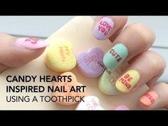 Candy Hearts Nail Art #colorful See more #nailart - bellashoot.com (mobile-friendly), bellashoot iPhone & iPad app