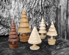 Loving these wooden Christmas trees by Theo Haralampou - Woodturner