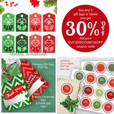 Buy any 3 set of Christmas gift tags or labels and get 30%  OFF.  Use coupon code BUY3DISCOUNT30OFF