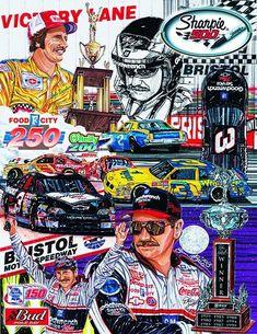Sam Bass souvenir program cover art for the Sharpie 500 featuring many icon Dale Earnhardt images Dale Earnhardt Crash, Bristol, Jr Motorsports, The Intimidator, Nascar Race Cars, Bass, Nascar Diecast, Car Posters, Vintage Race Car
