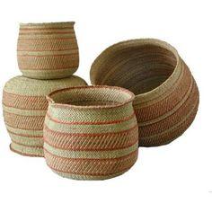 Amazon.com: Basket Iringa Natural/Rust (Tanzania) 4-Set Milulu Grass: Home & Kitchen