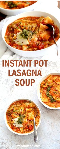 Instant Pot Lasagna Soup - Vegan Lasagna Soup with lasagna noodles, veggies, red lentils and basil. 1 Pot weekday meal. Saucepan option #Vegan #Nutfree #Recipe. Can be #glutenfree. #veganricha | VeganRicha.com