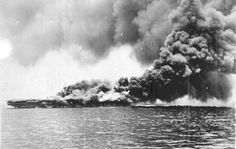 Imperial Japanese Navy carrier Shoho sinking and burning at the Battle of Coral Sea