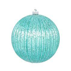 Vickerman Teal Mercury Finish Pumpkin Ball Christmas Tree Ornament