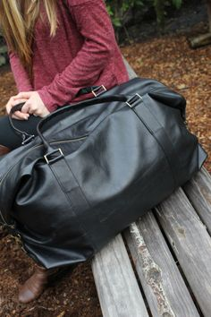 Black Leather Carry On Bag by SummersClosetDesigns on Etsy