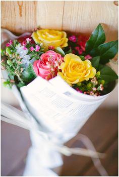 flowers. bouquet. newspaper. - no better mixture! ;)