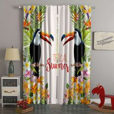 3D Printed Toucan Style Custom Living Room Curtains – Westbedding