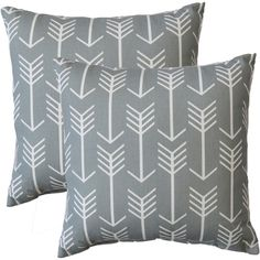 Premiere Home Arrow Cool Grey 17-inch Throw Pillow ($53) ❤ liked on Polyvore featuring home, home decor, throw pillows, grey, modern home accessories, blue grey throw pillows, gray home decor, patterned throw pillows and grey home decor