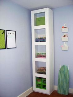 Craft Room Storage Tower plans from Ana White Craft Room Storage, Diy Storage Tower, Fabric Storage, Baby Storage, Fabric Display, Corner Storage, Linen Storage, Paper Storage, Craft Organization