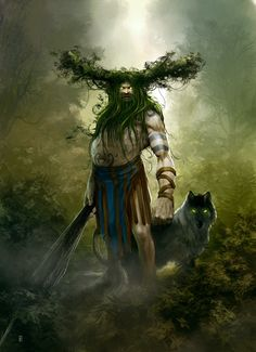 Leshy- Slavic myth: a shapeshifting woodland spirit. He has white skin with blue blood. He has horns, a beard of vines and a tail. He either has hooves or shoes on opposite feet. He carries a club to show his authority. He is mischievous but not evil. He often makes pacts with cowherds. His companions are the gray wolf and the bear.