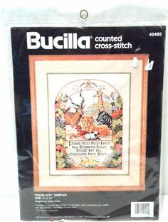 Cross Stitch Kit Vintage 1990 Praise God Religious 14ct. Counted NIP Bucilla #Bucilla #Sampler