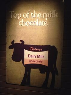 A picture of an excellent cow at the Cadbury's chocolate factory. Birmingham, England.