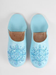 Pale Blue Moroccan Leather Babouche Slippers