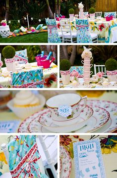 Alice and her tea table ~ Blending multiple textures and colors, this decoration can be ideal for any party. Pay attention to the cups stacked, to the tree form plants and the ties around the chairs... Totally inspiring.