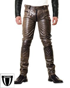 Tough Mens Brown Leather Pants with Trough Zipper Brown Leather Pants, Tight Leather Pants, Leather Jacket Outfits, Leather Jackets, Black Leather, Gothic Fashion Men, Leather Fashion, Mens Fashion, Lederhosen Outfit