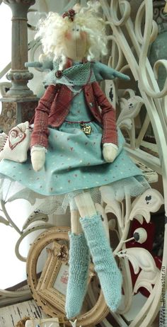 Купить Сердечный ангел - мятный, бордовый, подарок, текстильная кукла, кукла, кукла ручной работы