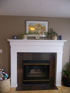 We need a mantle, and I'm trying to figure out how to do one cheap and easy. Our fireplace is low like this, but has carpet up to it (no tile). Hmmm.....