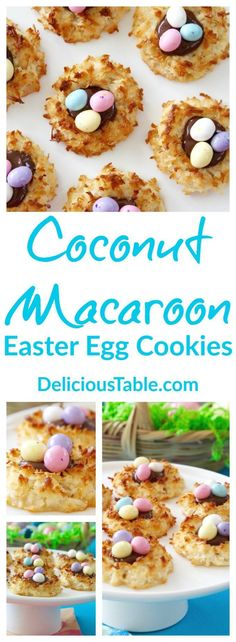 Coconut Macaroon Easter Egg Cookies are a cute Easter recipe and are easy to make ahead or at the last minute. A fun Easter dessert for any Easter gathering or Easter party! #easterdesserts #eastercookies #easterrecipes #easterbreakfast #easterbrunch #easterDIY #easterideas #easter via @www.pinterest.com/delicioustable