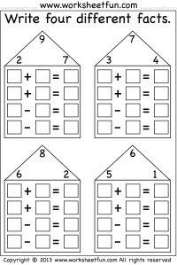 best fact families images  fact families addition subtraction  math activities preschool math kindergarten math elementary for kids fact  family worksheet fact