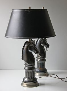 Tamil modern horse table lamp in olive bronze finish 30h by pair of black ceramic horse bust table lamps by modishvintage 25000 aloadofball Gallery