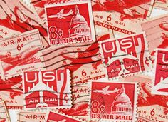 45 Vintage Red Air Mail US Postage Stamps  by GreenShedVintage