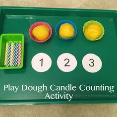 Toddler color matching candle and cupcake tin activity that not only looks pretty but is fun and works on visual perception. Playdough Learning Acitivities, How to Teach with Playdough, Sensory Play Ideas
