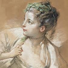 François Boucher: La Coquette,  before 1758, Pastel on tan paper. MMFA, Quebec.
