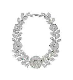 Belle Epoque Diamond And Emerald Eglantine Necklace by Cartier, Circa 1906 Cartier Necklace, Cartier Jewelry, Jewelry Necklaces, Bracelets, Emerald Necklace, Floral Necklace, Emerald Jewelry, Diamond Jewellery, Edwardian Jewelry