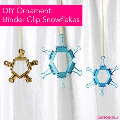 DIY these chic and simple snowflake ornaments out of binder clips!