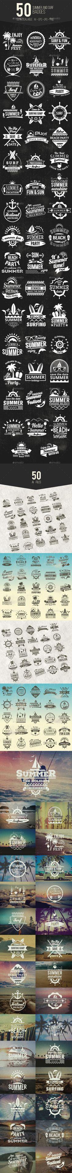 50 Summer & Surf Badges — Vector EPS #vintage #element • Download ➝ https://graphicriver.net/item/50-summer-surf-badges/20402228?ref=pxcr