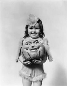 vintage girl with pumpkin head halloween retro pumpkins children costume