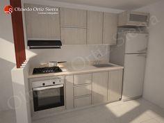 Diseño de Cocina Pequeña. Ideal para espacios reducidos Small Apartment Interior, Apartment Kitchen, Home Decor Kitchen, Kitchen Interior, Kitchen Planner, Mobile Home Living, Kitchen Organisation, Mini Kitchen, Cuisines Design