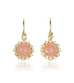 0ce1eb87c Suzanne Kalan Yellow Gold Rose Quartz and White Sapphire Starburst Drop  Earrings add just the right