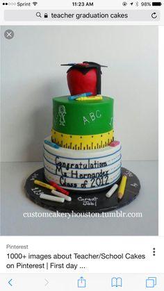 Angel, make it happen. Teacher Graduation Party, Preschool Graduation, Graduation Celebration, Graduation Cake, College Graduation, Graduation Ideas, School Teacher, Unique Cakes, Creative Cakes