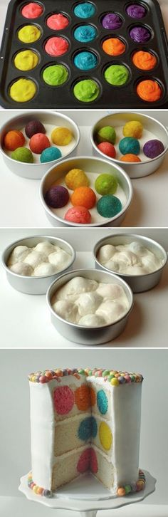 New twist on a polka dot cake and so easy! Bake brightly colored cake balls in a cake ball pan. Cover bottom of round cake pans with cake batter, place baked cake balls in round cake pans, then pour remaining cake batter over top! Can't wait to try this out!