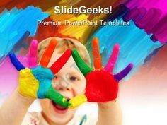 Happy Child With Painted Hands Art PowerPoint Templates And PowerPoint Backgrounds 0711  Presentation Themes and Graphics Slide01