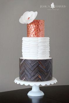 Herringbone Wood, Copper, Ruffle Cake